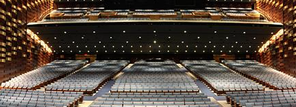 This image is a photograph of the theatre in the Sony Centre for the Performing Arts and shows the ramps in the theatre.