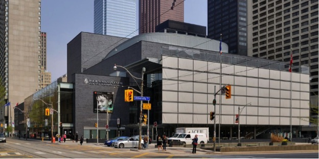 This image is a photograph taken from the outside of the Four Seasons Centre.
