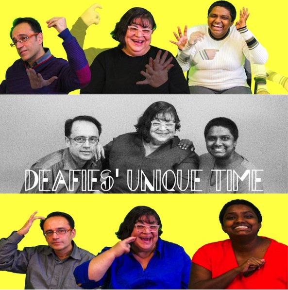 "This image is of a photograph that shows three performers using sign language as a promotion for their upcoming show titled: ""Deafies' Unique Time""."