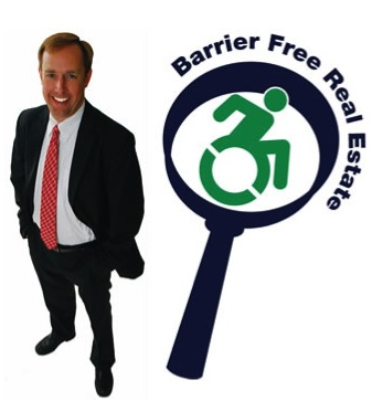 "his image is of a photograph of Jeffrey standing and smiling, with his business logo next to him. The logo reads ""Barrier Free Real Estate"" and features the new dynamic accessibility symbol set within a magnifying glass."