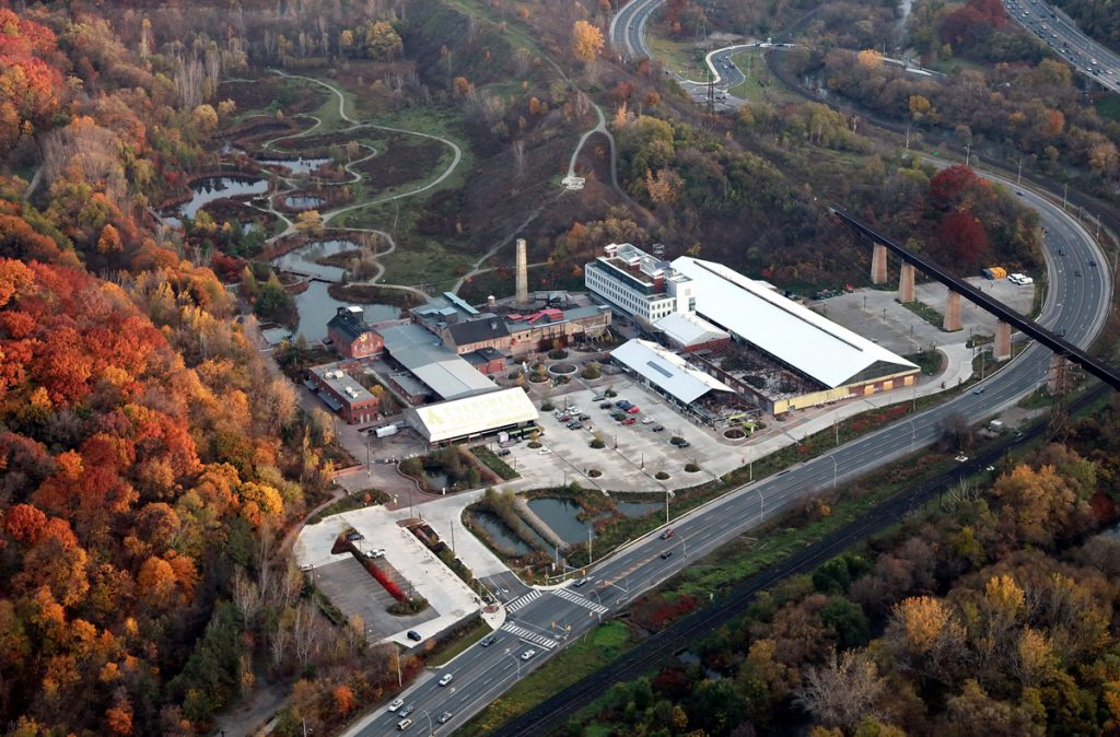 Aerial view of Evergreen Brick Works